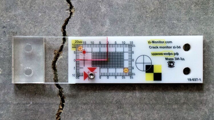 Crack monitor zi-3d - Gauge for three-axis monitoring cracks (3d Tell-Tale). Pack of 10 pieces
